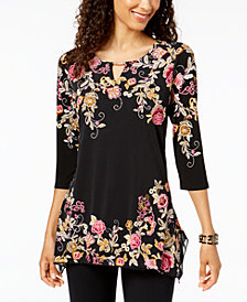 JM Collection Embroidered Keyhole Tunic, Created for Macy's