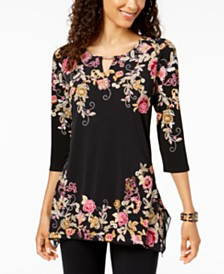 JM Collection Chain-Trim Keyhole Printed Top, Created for Macy's