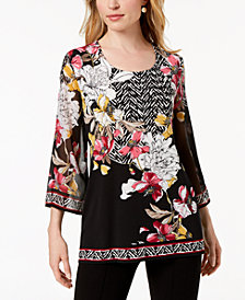 JM Collection Petite Printed Chiffon-Sleeve Tunic, Created for Macy's