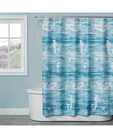 "Saturday Knight Mermaid Shore Printed 72"" x 72"" Shower Curtain"