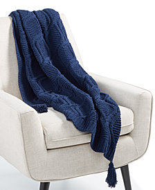 "Martha Stewart Collection Sweater-Knit Chenille 50"" x 60"" Throw, Created for Macy's"