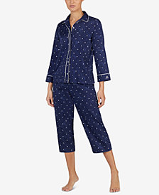 Lauren Ralph Lauren Woven Dotted Cropped Pajama Set