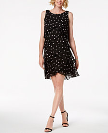 SL Fashions Polka-Dot Tiered Shift Dress