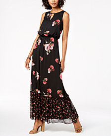 Adrianna Papell Mixed Floral-Print Blouson Maxi Dress