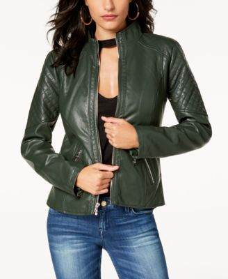GUESS Womens Long Sleeve Embroidered Moto Jacket