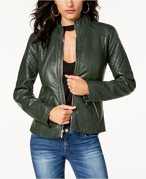 d20bea4df82 GUESS Quilted Faux-Leather Moto Jacket & Reviews - Coats ...