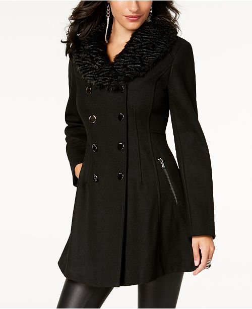 a171ab48005b GUESS Faux-Fur-Collar Skirted Coat   Reviews - Coats - Women - Macy s