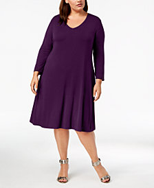 Style & Co Plus Size A-Line Swing Dress, Created for Macy's