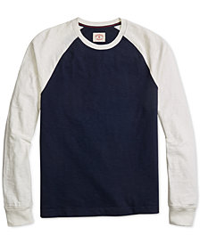 Brooks Brothers Men's Red Fleece Colorblocked Textured-Knit Raglan-Sleeve Baseball T-Shirt