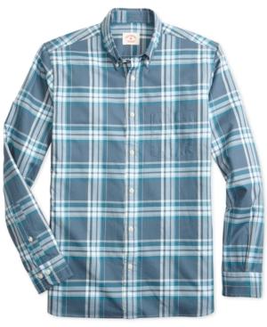 Brooks Brothers Men's Red Fleece Slim-Fit Plaid Twill Shirt