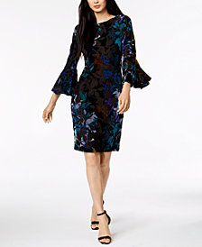 Calvin Klein Multicolored Burnout Velvet Bell-Sleeve Dress