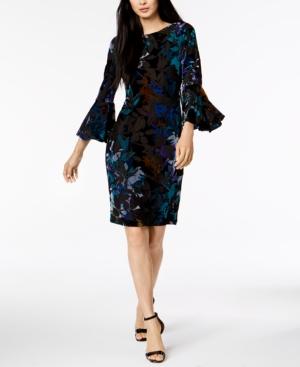 Calvin Klein Multicolored Burnout Velvet Bell-Sleeve Dress