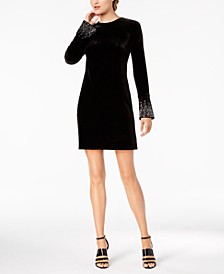Embellished Bell-Sleeve Sheath Dress