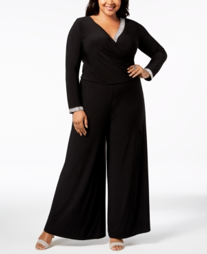 60s 70s Plus Size Dresses, Clothing, Costumes Msk Plus Size Rhinestone Palazzo Jumpsuit $99.00 AT vintagedancer.com