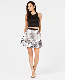 Speechless Juniors' 2-Pc. Solid & Floral Fit & Flare Dress, Created for Macy's