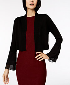 Calvin Klein Tiered-Sleeve Chiffon-Contrast Cardigan