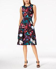 Calvin Klein Floral Scuba Midi Fit & Flare Dress