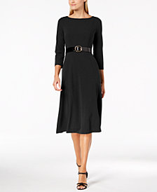 Calvin Klein Belted Midi A-Line Dress