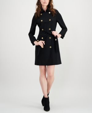 Double-Breasted Trench Dress, Black