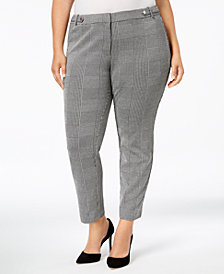 Calvin Klein Plus Size Plaid Ankle Pants