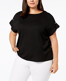 Calvin Klein Plus Size Pearl-Detailed Top