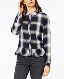 Tommy Hilfiger Plaid Peplum Shirt, Created for Macy's