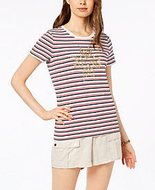 Tommy Hilfiger Studded Striped T-Shirt, Created for Macy's