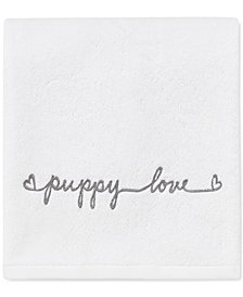 ED Ellen DeGeneres Puppy Love Cotton Embroidered Fingertip Towel