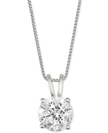 "Diamond Solitaire 18"" Pendant Necklace (1-1/2 ct. t.w.) in 14k White Gold"