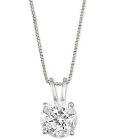 "Diamond Solitaire 18"" Pendant Necklace (1-1/2 ct. t.w.) in 14k White Gold"