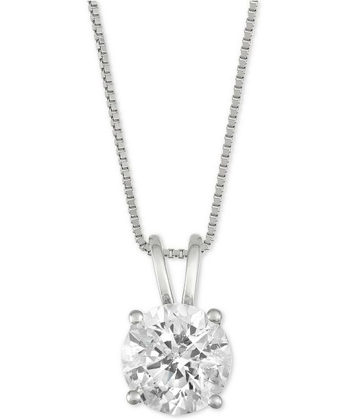 "Macy's Diamond Solitaire 18"" Pendant Necklace (1-1/2 ct. t.w.) in 14k White Gold"