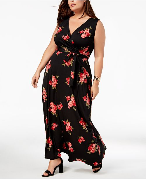8c2b7b0e9d Love Squared Trendy Plus Size Faux-Wrap Maxi Dress   Reviews ...