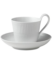 White Fluted High Handle Cup & Saucer