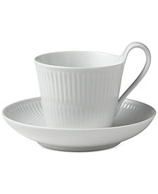 Royal Copenhagen White Fluted High Handle Cup & Saucer