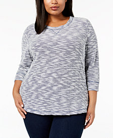 Karen Scott Plus Size Textured Sweatshirt Top, Created for Macy's