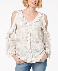 Love Scarlett Petite Ruffled Cold-Shoulder Top