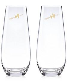 Two Hearts 2-Pc. Stemless Toasting Flute Set