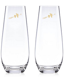 kate spade new york Two Hearts 2-Pc. Stemless Toasting Flute Set