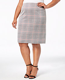 Nine West Plus Size Plaid Pencil Skirt