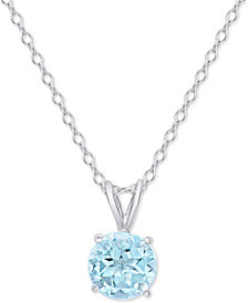 "Blue Topaz Solitaire 18"" Pendant Necklace (3/4 ct. t.w.) in Sterling Silver"