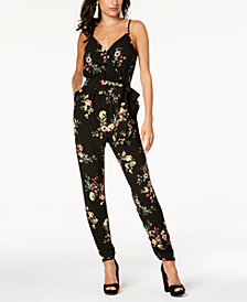 Material Girl Juniors' Printed Adjustable Jumpsuit, Created for Macy's