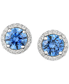Arabella Swarovski Zirconia Halo Stud Earrings in Sterling Silver