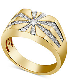 Men's Diamond Starburst Ring (3/8 ct. t.w.) in 10k Gold