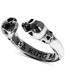 King Baby Women's Skull Cuff Ring in Sterling Silver