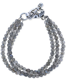 King Baby Labradorite Triple Strand Toggle Bracelet in Sterling Silver