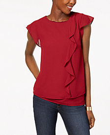 Monteau Petite Ruffle-Front Top