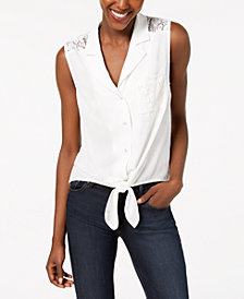 Monteau Petite Lace-Back Tie-Hem Top, Created for Macy's