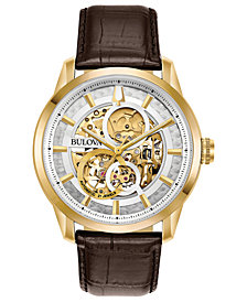 Bulova Men's Automatic Sutton Brown Leather Strap Watch 43mm