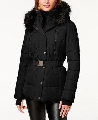 Belted Faux Fur Trim Puffer Coat by Michael Michael Kors