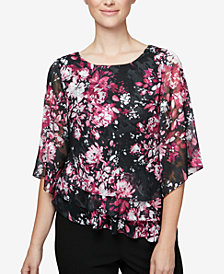 Alex Evenings Floral-Print Petite Tiered Top